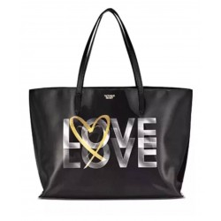 Victoria's Secret Black Holographic LOVE Tote Bag