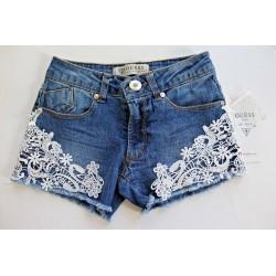 GUESS Los Angeles Kids Lace Trim Denim Shorts