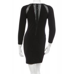 Alice Olivia Black 3/4 Sleeves Mesh Panel Sheath Dress
