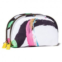 Sonia Kashuk Art of Beauty Face Print - Double Zip Cosmetic Bag - Limited Edition