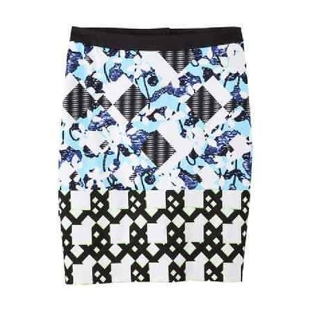 Peter Pilotto Blue Floral Check Print Pencil Skirt