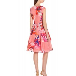 Calvin Klein Coral Floral Cap Sleeve Fit and Flare Dress