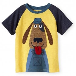 Koala Kids Boys' Short Yellow Sleeve Dog Graphic with 3D Tounge Print