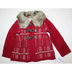 Savannah Toddler Girls' Red Sweater Knit Jacket Cardigan