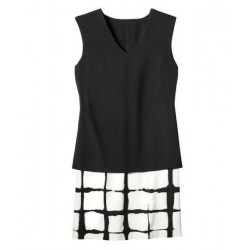 Adam Lippes Double Layer Shift Dress in Painterly Black White Plaid
