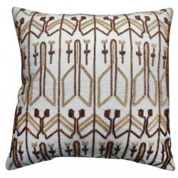 Nate Berkus Decorative Beaded Pillow White Brown