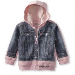 Levi's Girls Toddler Blue Denim Hoodie Jacket