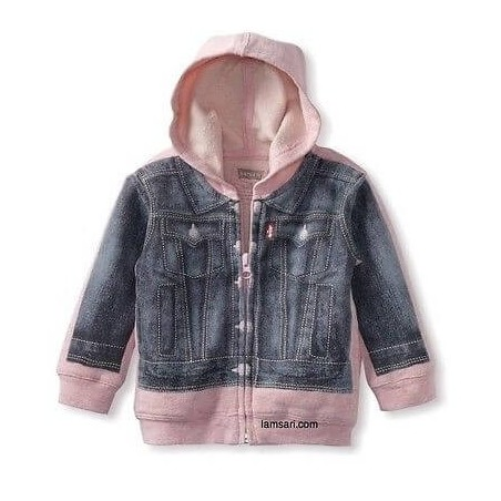 Levi's Girls Toddler Pink Blue Denim Hoodie Jacket