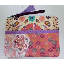 Mead Flower Print Pencil Accessory Pouch Bag Case with Tassel