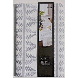 Nate Berkus Embroidered Silver Metallic Leaf Table Runner