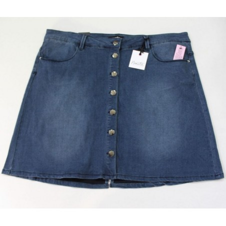 Nanette Lepore Womens Plus Stretch Button Closure Denim Skirt