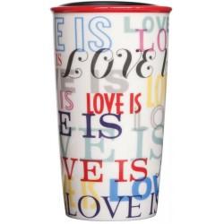 Starbucks LOVE IS Ceramic Traveler Cup Tumbler 12 Fl Oz