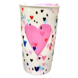 Starbucks Valentine Raised Pink Heart Traveler Tumbler 10 Fl Oz