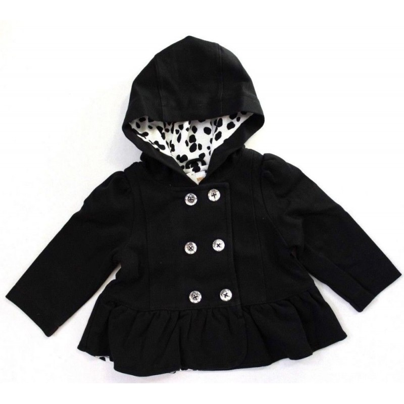 Gymboree Girls Black Double Button Hooded Ponte Jacket with Dalmation Print Size 12-24M
