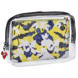 Peter Pilotto Clear Green Yellow Floral Makeup Pouch Case