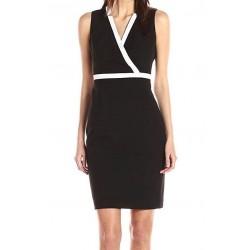 Calvin Klein Black Sleeveless V-Neck Sheath Dress - Size 14