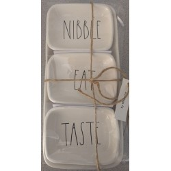 Rae Dunn Magenta Nibbble Eat Taste 4-Piece Plate Tray