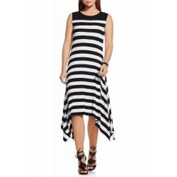 Vince Camuto Black White Stripe Handkerchief Hem Midi Dress