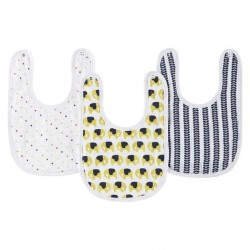 Aden Anais Orla Kiely 3-Pack Cotton Baby Little Bib - Elephants, Flowers, Trains