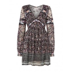 Free People Floral Cherry Blossom Black Embroidered Lace Pleat Mini Dress - Size 2