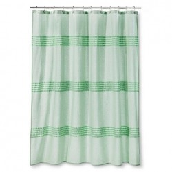 Threshold Seersucker Green Pleated Shower Curtain