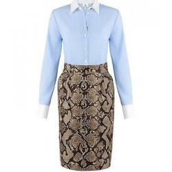 Altuzarra Button Down Dresss - Light Blue/White/Phyton
