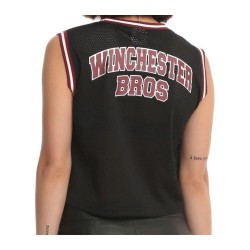 Supernatural Girls Team Free Will Anti-Possession Jersey Cropped Tank Top - Size S