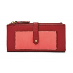 Fossil Keely Tab Leather Red Coral Wallet Clutch SL7217995