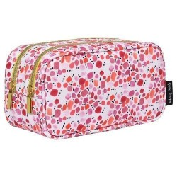 Ashley Mary Lucky In Love Double Zip Makeup Bag Travel Organizer - Pink