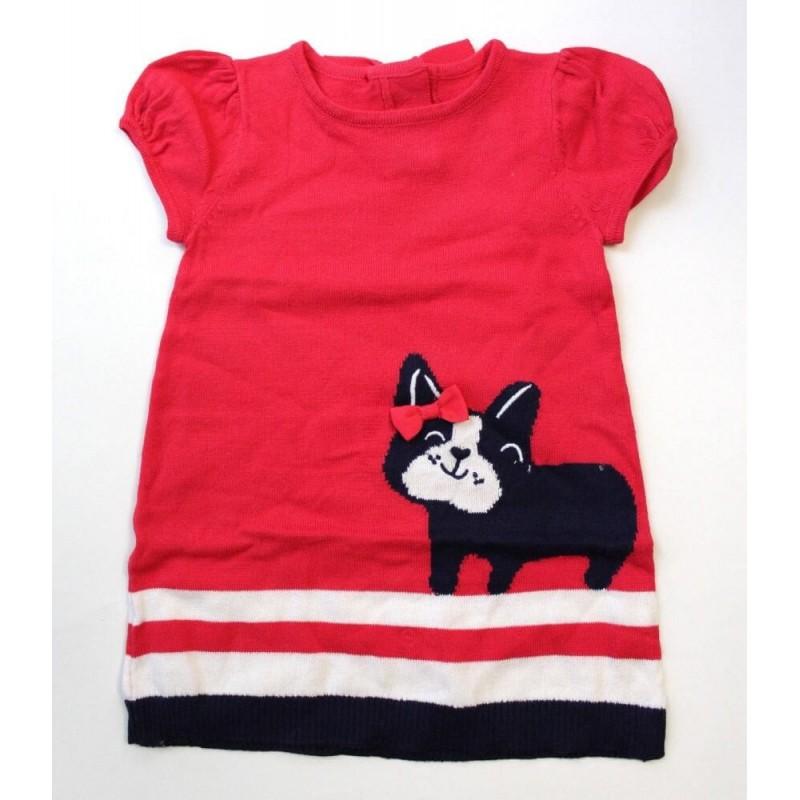 Gymboree Girls' Puppy Bow Red Sweater Knit Dress