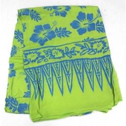 Bali Beachwear Summer Sarong Green Blue Hibiscus Print