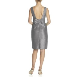 Alfred Sung Quarry Gray Open Back Bridesmaid Dress Style D522 Size 8