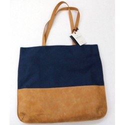 Hearth & Hand with Magnolia Navy Tan Leather Tote Bag