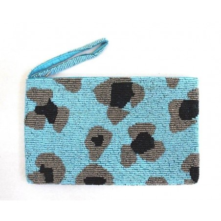 Bali Handmade Ethnic Beads Floral Light Blue Clutch Purse