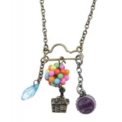 Disney Up Balloons Cloud Charm Cluster Long Necklace
