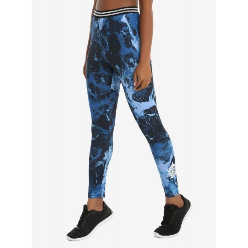 Supernatural Marble Print Girls Active Blue Pants Size Junior S