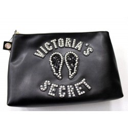 Victoria's Secret Pearl Sequin Angels Wings Black Cosmetic Bag