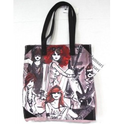 Izak by Isak Zenou Mauve Girls Rock Watercolor Tote Bag