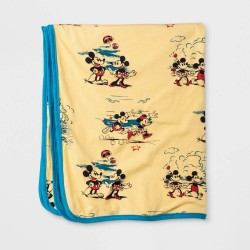 Disney Mickey Mouse Print Yellow Baby Blanket by Junk Food