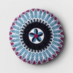 Opalhouse Blue Pom Embroidered Throw Pillow