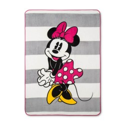 Minnie Mouse Pink White Super Soft Plush Twin Blanket