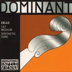 THOMASTIK Infeld Dominant Cello 4/4 Complete Set of Strings 147 Medium Synthetic Core