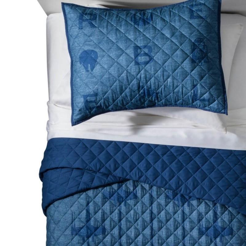 Star Wars Blue Twin Full Super Soft Quilt Set