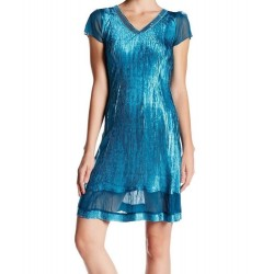 Komarov Women's Sequined V-Neck Ultra Marine Mesh Sheer Panel Dress Size S