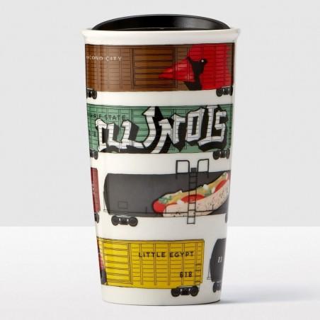 Starbucks Illinois Area Double Wall Ceramic Mug Tumbler 12 Fl Oz