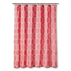 Threshold Coral Geo Cotton Shower Curtain