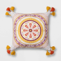 Opal House White Print Embroidered Medallion Square Throw Pillow