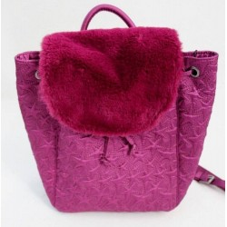 Steve Madden Magenta Satin Faux Fur Small Backpack