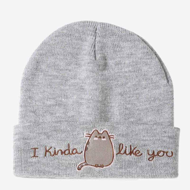 Pusheen I Kinda Like You Gry Knit Beanie Hat