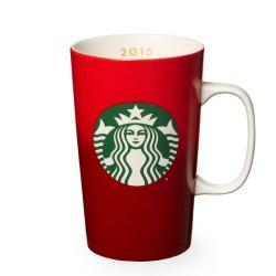 Starbucks 2015 Red Holiday Christmas Ceramic Cup Mug 16 Fl Oz